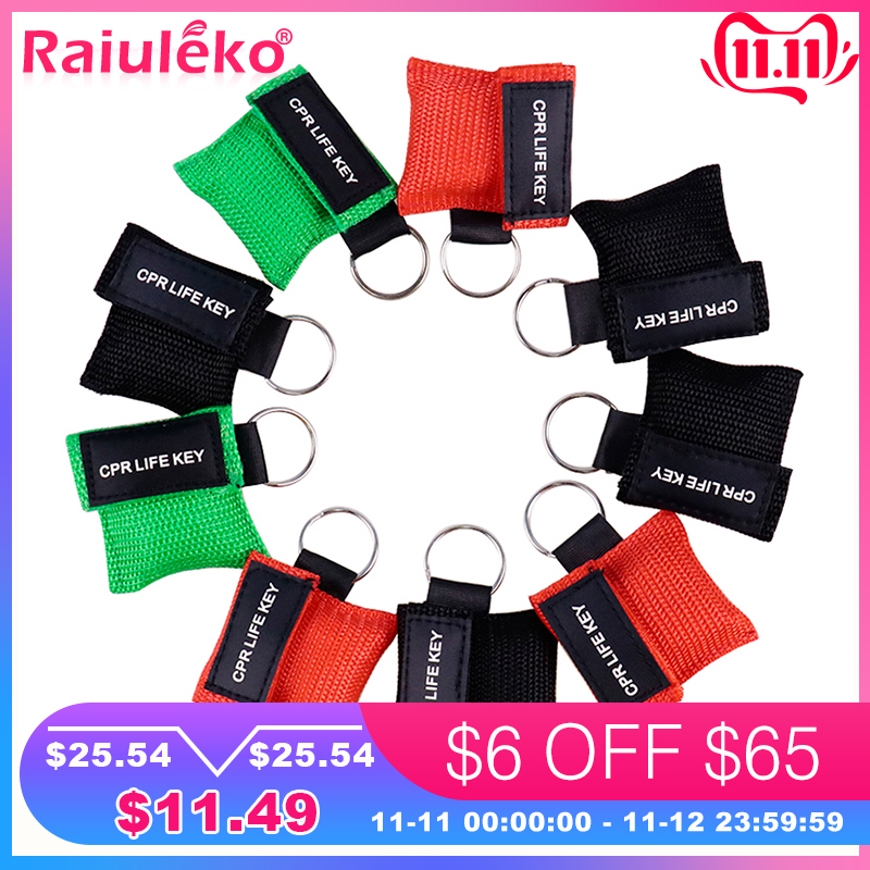 20pcs 3 Color Medical CPR Resuscitator Mask Keychain First Aid Emergency Face Shield CPR Mask CPR Mask For Outdoor Survival
