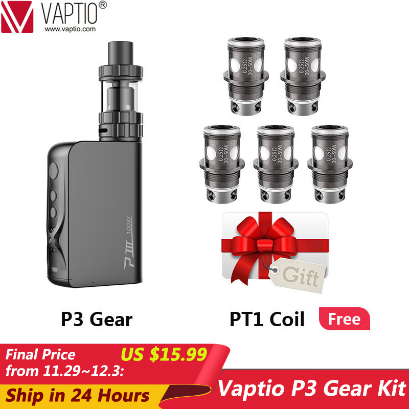 Gift 5pcs Coil 100W Vape Kit Vaptio P3 Gear Electronic Cigarette 3000mAh Starter Kit Built-In-Battery 2.0ml Atomizer 510 Thread