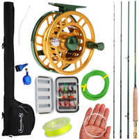 Sougayilang 2.9m Portable Fly Fishing Rod and 5/6 Fly Reel Combo Fishing Pole Fish Line Lure Flies Line Full Accessories Set