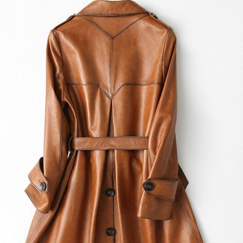 High Grade Leather Women's Real Length Women Wear Long Sleeved Overcoats, Long Sleeved Irregular Button Belts