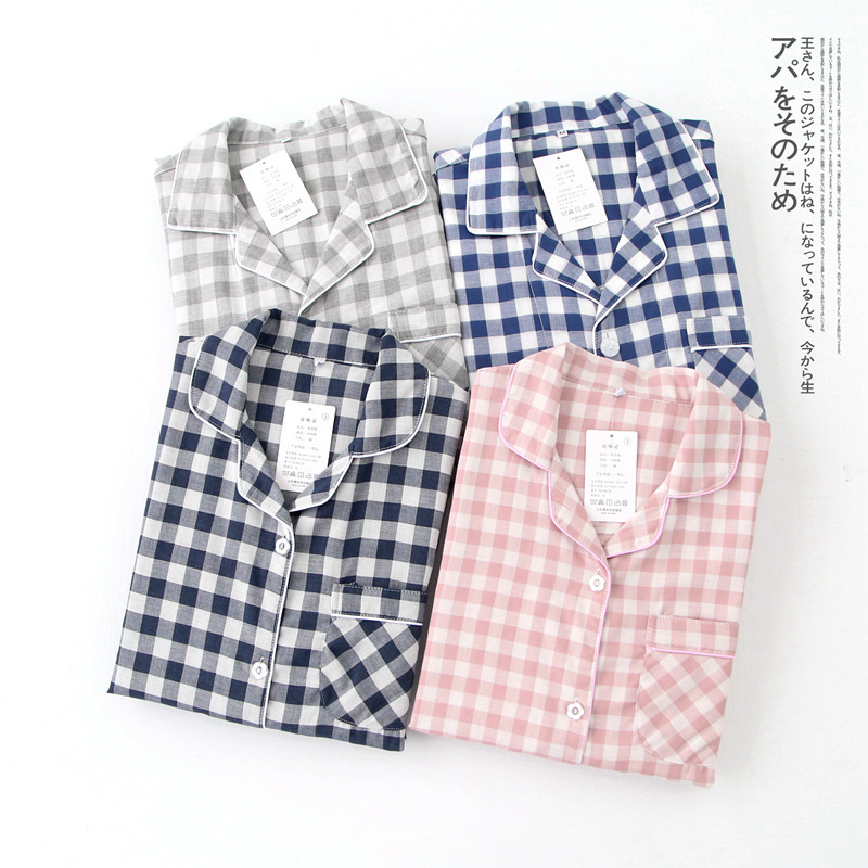 Japanese Lovers Pajamas Set Pure Cotton Kimono Loose Lattice Autumn Men Women Homewear Suit Long Sleeve Thin Leisure Yukata