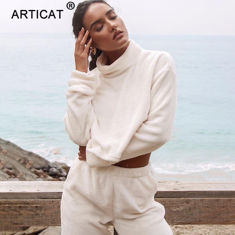 Articat Autumn Winter Women Set Long Sleeve Turtleneck Tops And Pants Women 2 Piece Set Casual Warm Women's Suit Teddy Bear Set