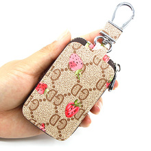 Fashion Lady Car Key Case High Quality PU Leather Key Cover Strawberry Flower Plaid Creative Car Key Storage Box