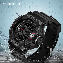 2019 SANDA G Style męski zegarek wojskowy Top marka luksusowe wodoodporne sportowe S Shock zegarek kwarcowy zegar męskie zegarki Relogio w Zegarki kwarcowe od Zegarki na
