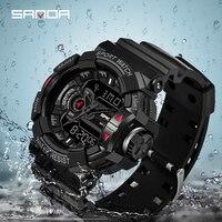 2019 SANDA G tarzı askeri erkek saati üst marka lüks su geçirmez spor S şok kol saati kuvars saat erkek saatler Relogio