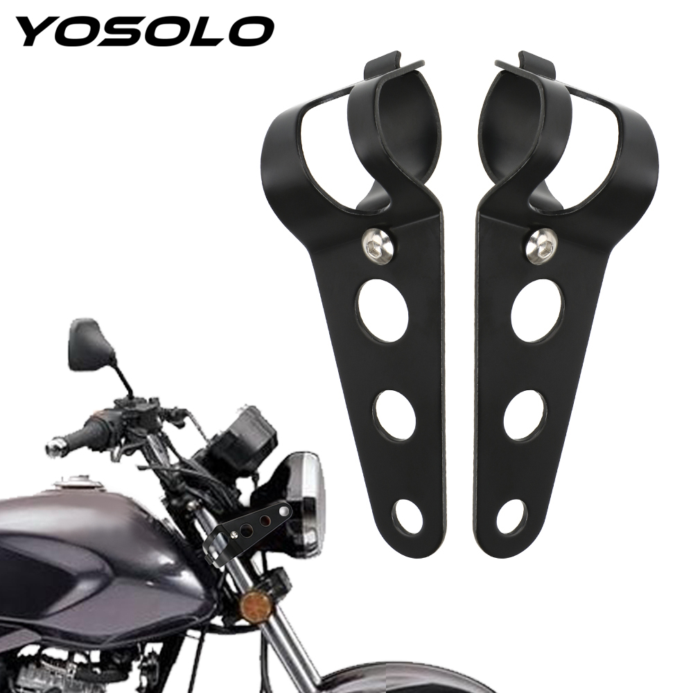 YOSOLO 1 Pair Universal Stainless Steel Motorcycle Headlight Bracket Front Lamp Carrier Motorcycle Accessories