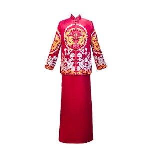 Image 5 - Terno Noivo Colete Gravata настоящий костюм Xiuhe для мужчин 2020 новая одежда для жениха китайские женатые мужчины предлагают великолепное платье костюм ветер
