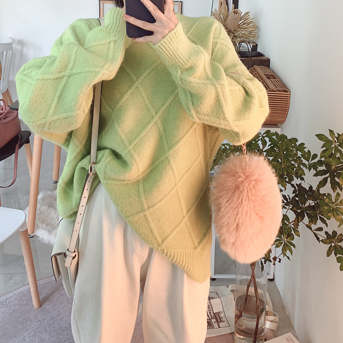 2019 Autumn New Sweater Rabbit Hair Blend Thickened Wool Antler Appearance Thin O-Neck Pullovers Women Sweaters