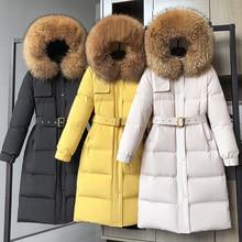 Women Down Coat Hooded Big Natural Raccoon Fox Fur Collar 90% White Duck