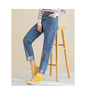 Image 3 - インマンスプリング秋冬文学すべて一致弾性ミディアムウエストルーススリム刺繍英語の手紙女性のジーンズ