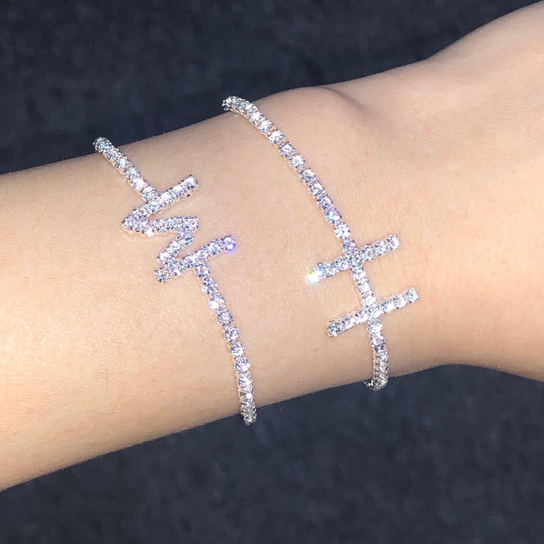 Human - Micro Pave Crystal Zircon Initial Letter Bracelets For Women Alphabet Charm Chain Friendship Bracelet