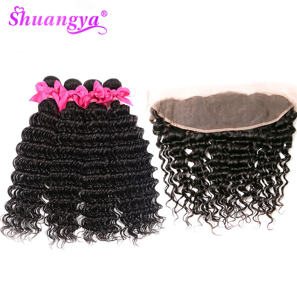 Shuangya Hair Indian Deep Wave Bundles With Frontal Remy Hair Frontal With Bundles 100 Human Hair