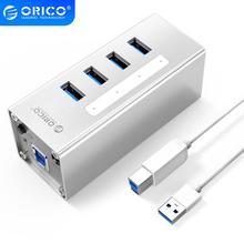 ORICO moyeu USB 3.0 A3H4 pour ordinateur portable, alliage daluminium, 4 ports, avec alimentation 12v 2a, entraînement facile, 4 appareils