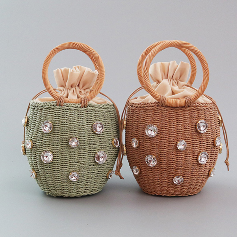 2020 New Handmade Rhinestone Crystal Embellished Straw Bag Small Straw Bucket Bags Lady Travel Purses And Handbags