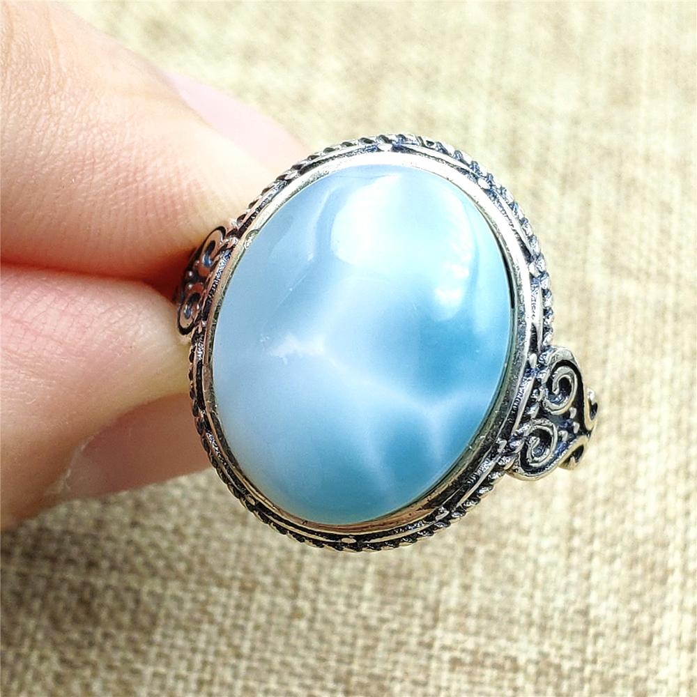 Natural Blue Larimar Stone Adjustable Ring 925 Sterling Silver For Women Men Party Love Gift 15x12mm Gemstone Ring AAAAA