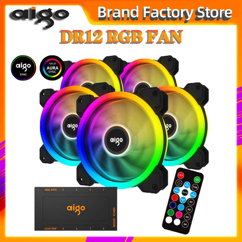 Aigo DR12 3Pcs Computer Case Pc Koelventilator Rgb Passen Led 120Mm Stille + Ir Remote Nieuwe Computer cooler Cooling Rgb Case Fan Cpu