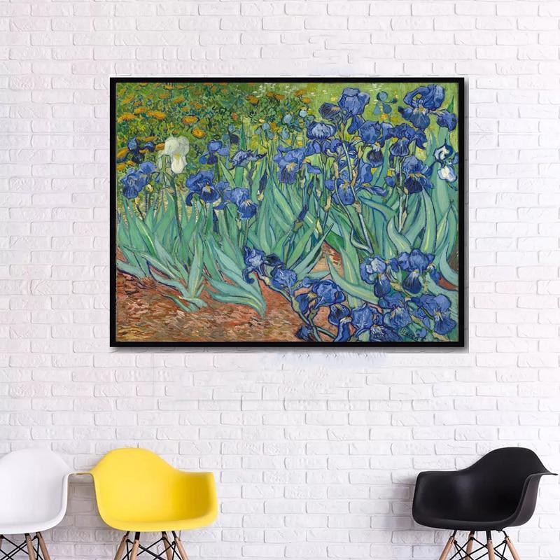 Grande sin marco imagen impresa barato de la pared arte impresionista arte lirios Van Gogh 1889 reproducciones de cuadros famosos sobre lienzo Arte clásico reproducción artista Magritte el beso carteles e impresiones lienzo arte pintura cuadros de pared para la decoración del hogar