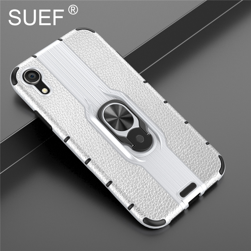 SUEF New Arrivals Hard PC Soft TPU Back Cover Case For iPhone XR X XS Max Phone Bag Cases With Finger Ring Kickstand in Fitted Cases from Cellphones Telecommunications