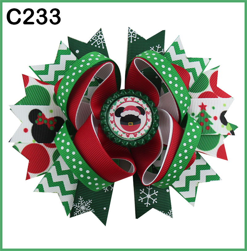 D 180 шт Рождественский бант для волос карамельный тростник бант Санта заколка для волос оленьи рожки на ободке слоистые милые банты
