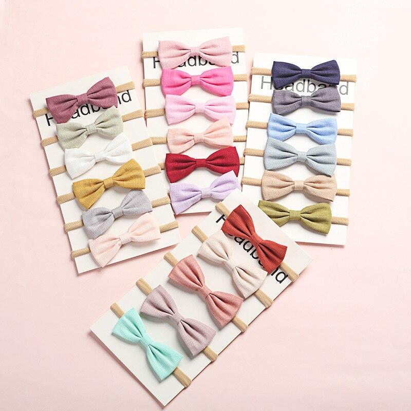 6 шт./компл. повязка на голову для маленьких девочек разных цветов повязка на голову с бантом детская регулируемая повязка для волос Детские ...