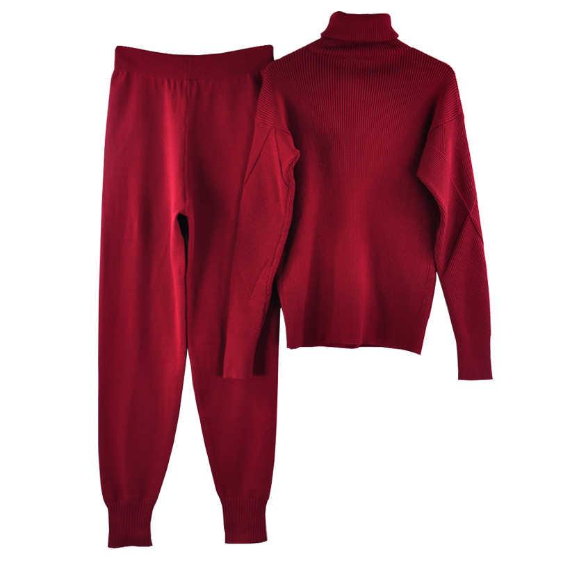 TAOVK jesień dzianinowy dres sweter z golfem garnitury casualowe kobiety dzianiny swetry i długie spodnie 2 sztuka zestaw kobiet