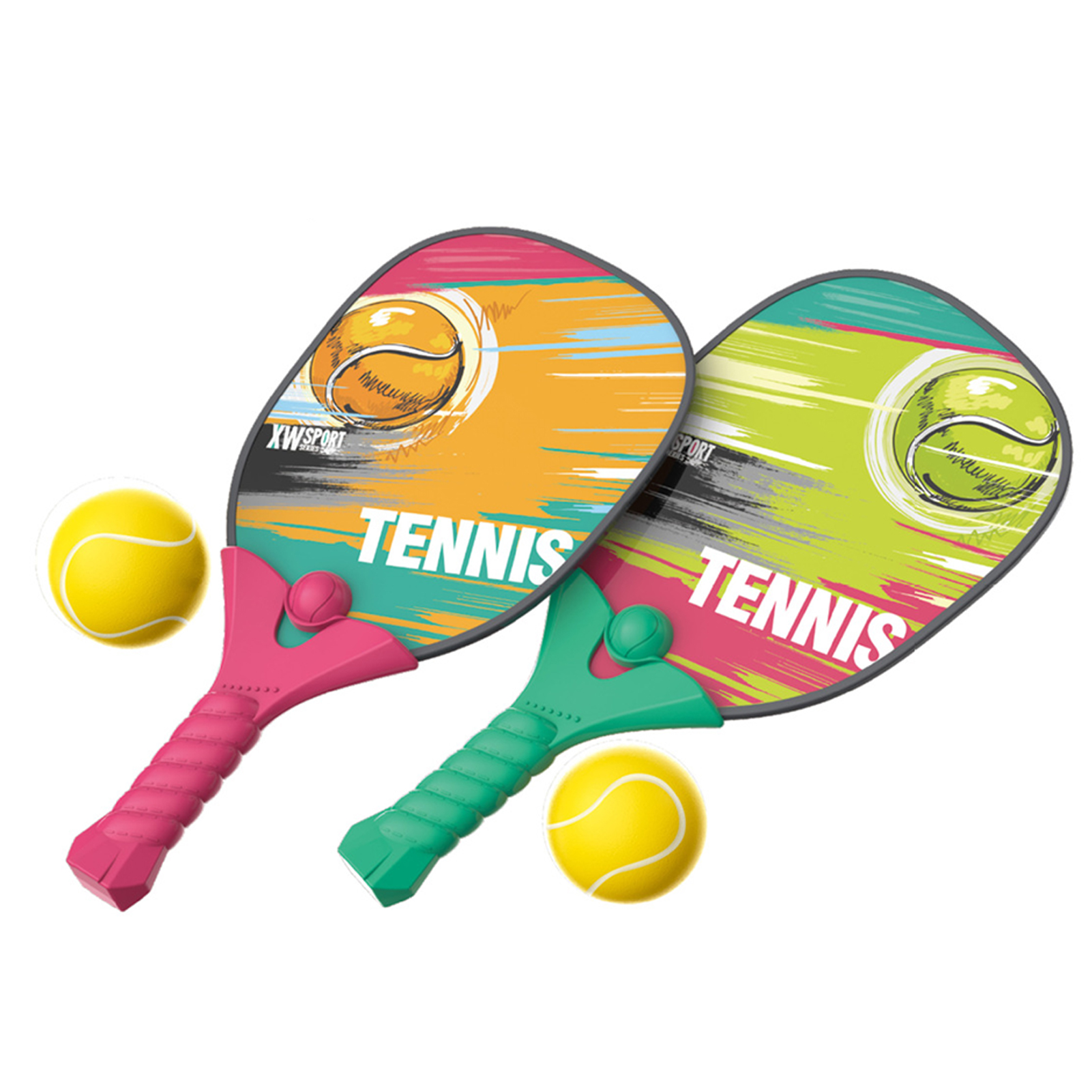 Kids Children'sTennis Pick Racket With Balls Safe Durable Squash Racket Outdoor Beach Play Sports Equipment Toys