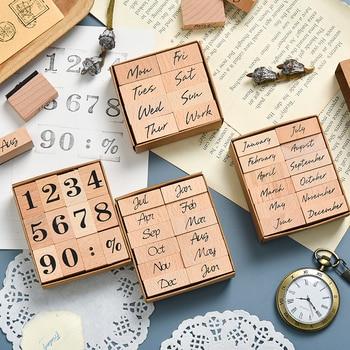 JIANWU Vintage Month Week Planner Stamp Basic Function Series Digital Symbol Stamp Wooden DIY Seal Stationery Office Supplies