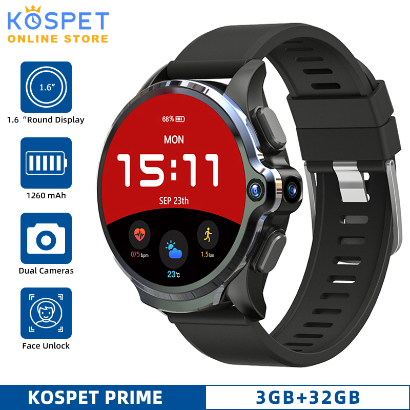 "KOSPET Prime 3GB 32GB Android Smart Watch Men Dual Camera 1260mAh 1.6"" Face ID 4G GPS Smarwatc For IOS Android Xiaomi Phone(China)"