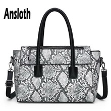 купить Ansloth Serpentine Design Handbag For Women Big Shoulder Bag Ladies Quality PU Leather Handle Bag Female Casual Tote Bag HPS648 по цене 1423.58 рублей