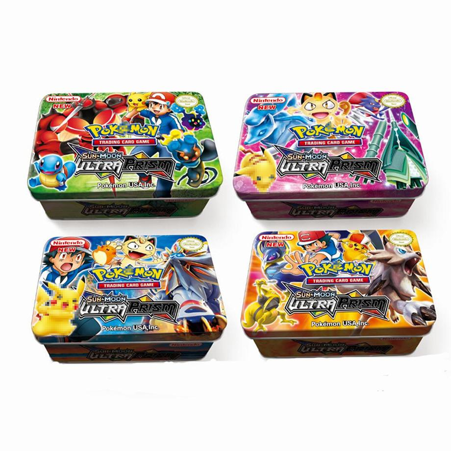 New 42pcs/set  Cards Pokemon Iron Metal Box TAKARA TOMY Toys Battle Game Snorlax Gengar Eevee Cartoon Kids Christmas Gifts