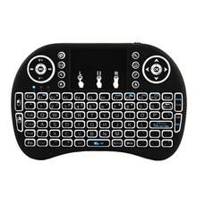 New i8 keyboard backlit English Russian Spanish  3 color Air Mouse 2.4GHz Wireless Keyboard Touchpad Handheld for TV Box PC backlight h9 i8 i8 2 4g wireless english russian hebrew keyboard backlit with touchpad for mini pc smart tv tv box laptop pc