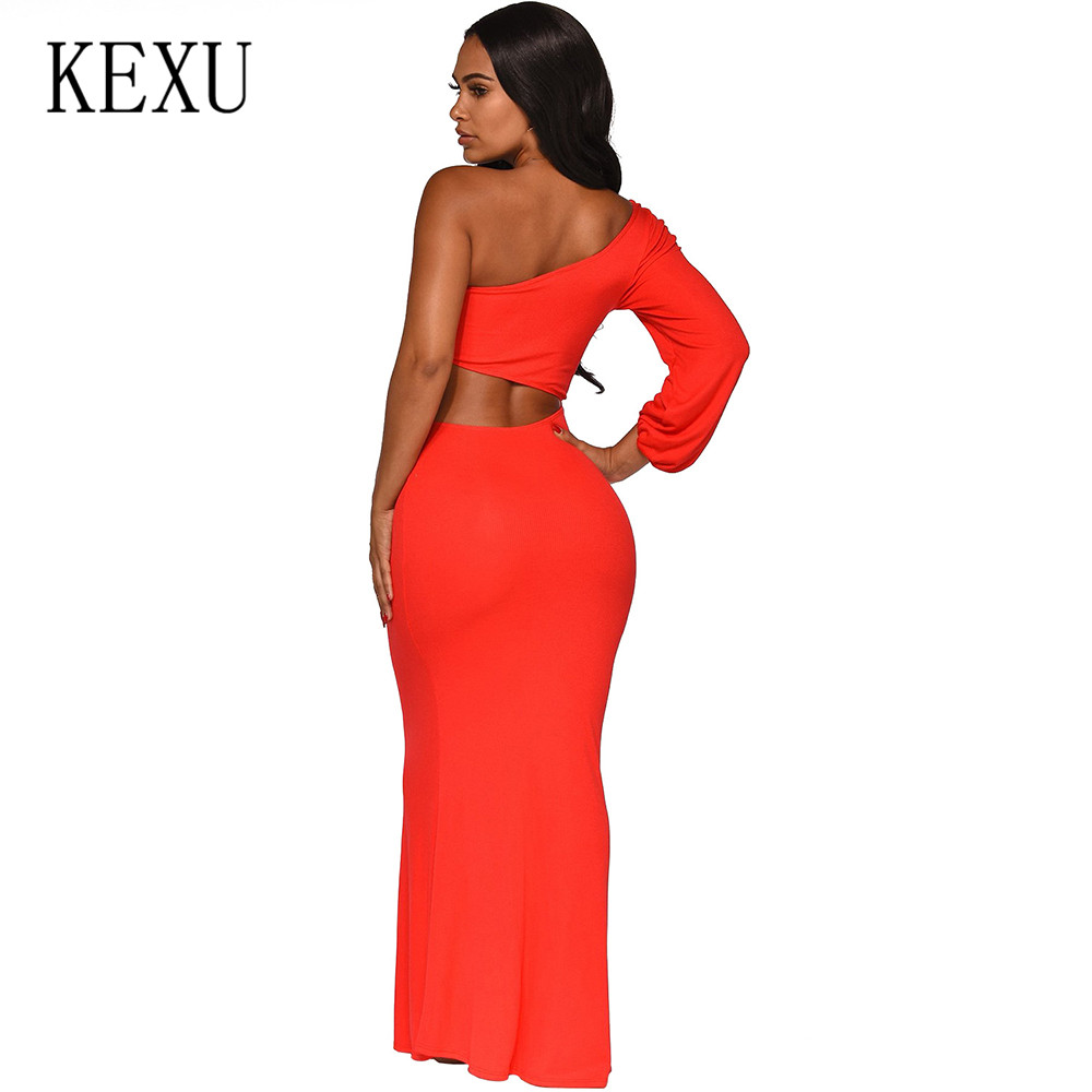 KEXU Sexy Hollow Out Long Sleeve Bodycon Bandage Dress Women Vestidos One Shoulder Autumn Casual Celebrity Runway Party Dresses in Dresses from Women 39 s Clothing