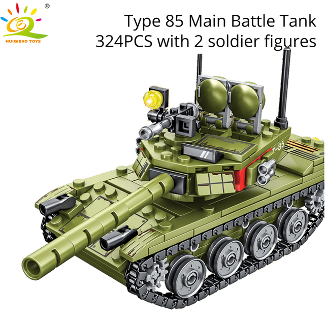 HUIQIBAO Military German King Tiger Tank model Building Blocks Army WW2 soldier Figures man weapon bricks children Boy Toys Gift