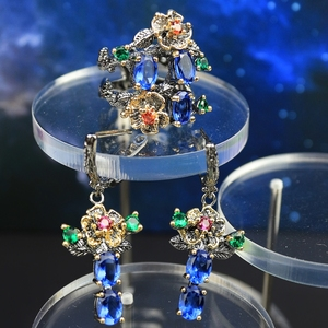 Image 2 - DreamCarnival 1989 New Arrived Flower Style Drop Earrings ring set  Blue Zirconia Anniversary Party Chic Jewelry Hot ER3877S2