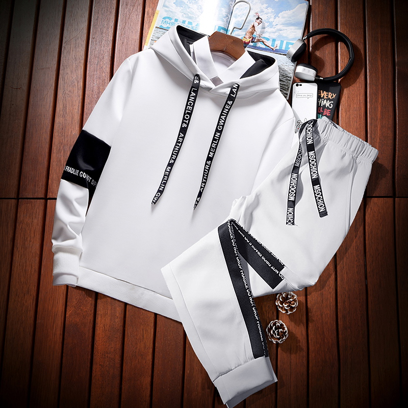2019 Fashion Winter Sport Suit Mens Sweat Clothing Tracksuit Jacket Hoody Suit Casual Men Outfit Sportwear Hommes Coat JJ60NT