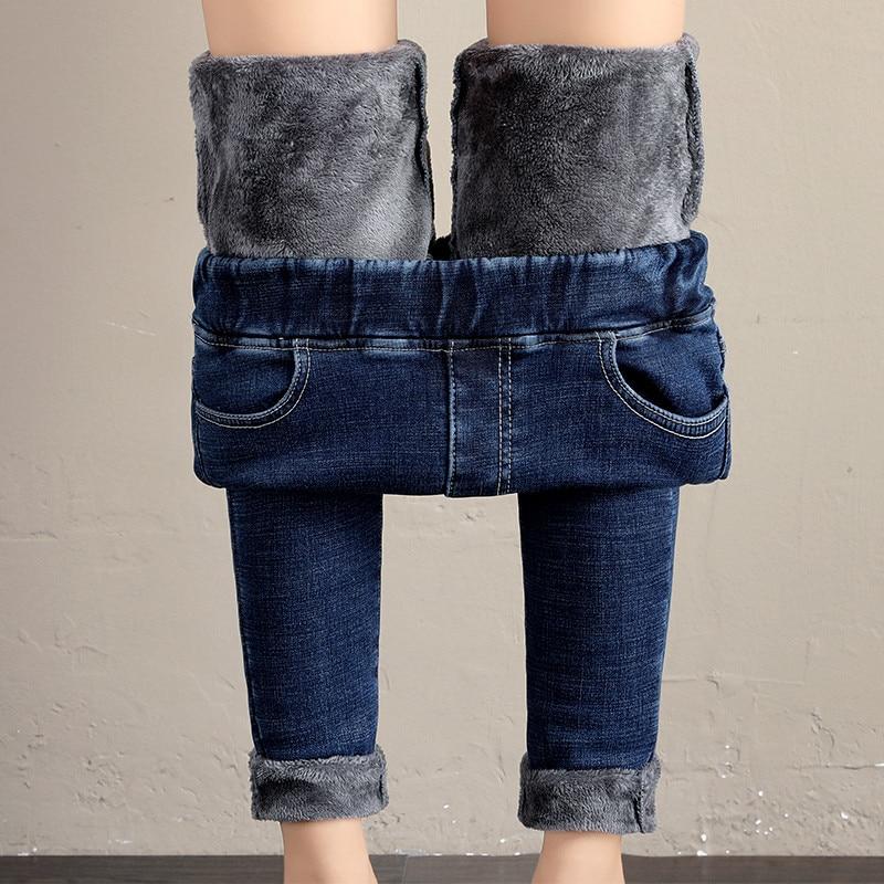 2019 Solid Blue Fleece Jeans Women Winter Black Thicken Denim Pencil Pants Sexy Snow Jeans  OL Trousers Warm Streetpants P9246