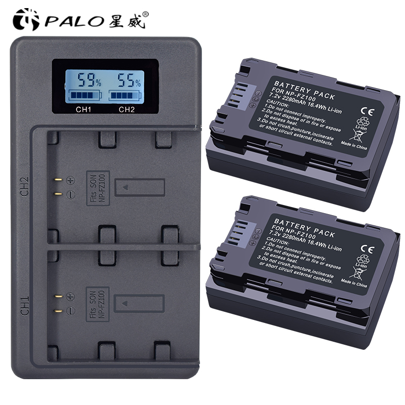 2Pc 2280mAh NP-FZ100 NPFZ100 NP FZ100 batterie + LCD double chargeur USB pour Sony NP-FZ100, BC-QZ1, Sony a9, a7R III, a7 III, ILCE-9