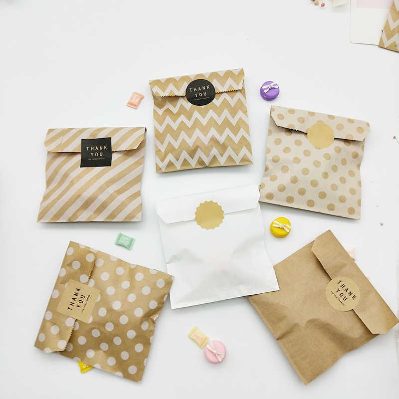 크래프트 종이 봉투 25pcs 캔디 비스킷 팝콘 가방 브라운 화이트 웨이브 도트 포장 파우치 과자 도구 포장 웨딩 파티 용품