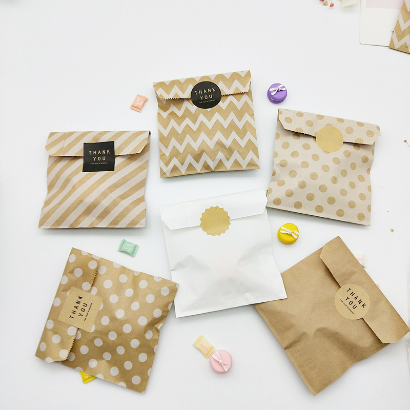 Kraft Paper Bag 25pcs Candy Biscuit Popcorn Bags Brown White Wave Dot Packing Pouch Pastry Tool Wrapping Wedding Party Supplies