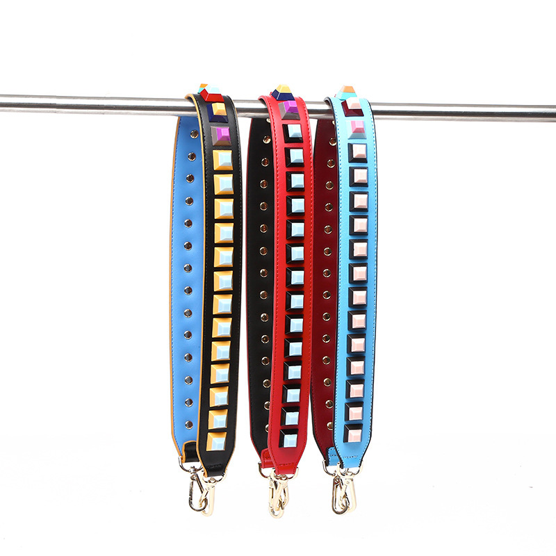 Woman Bag Straps High Quality Rivet Shoulder Straps Wide Bag Strap Collide Color Joker Flower Strap Crossbody Parts Acessorios