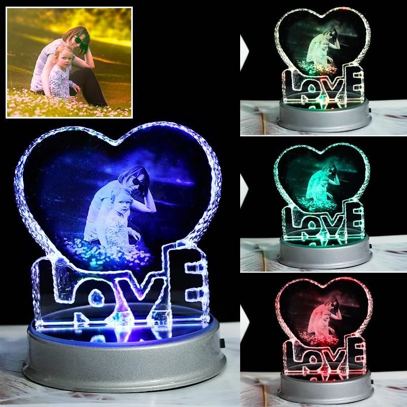 Image 2 - Customized Crystal Photo Frame Colorful LED Base Laser Engraved  Picture Souvenir Gift Personalized Glass Wedding Photo FrameFrame   -
