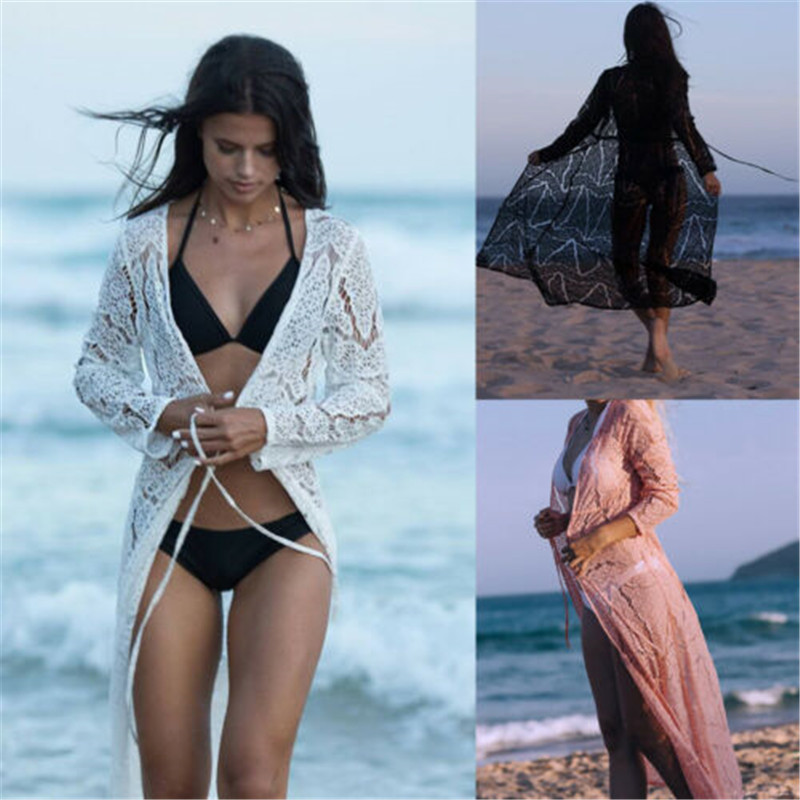 Fashion Sexy Robe Women Bikini Beach Cover Ups Lace Crochet Hollow Out Pareos Para Tunics Beach Dress Women Cardigan Cover Ups