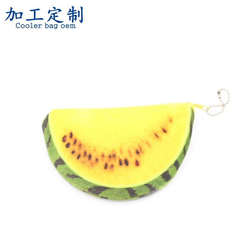 Processing Children Mini Plush DIY Purse Yellow Green 3D Watermelon Carrying Purse
