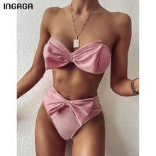 Ingagaハイウエストビキニ2021水着バンドゥ水着の女性光沢のある弓biquini固体ストラップレス海水浴水着のスーツの女性