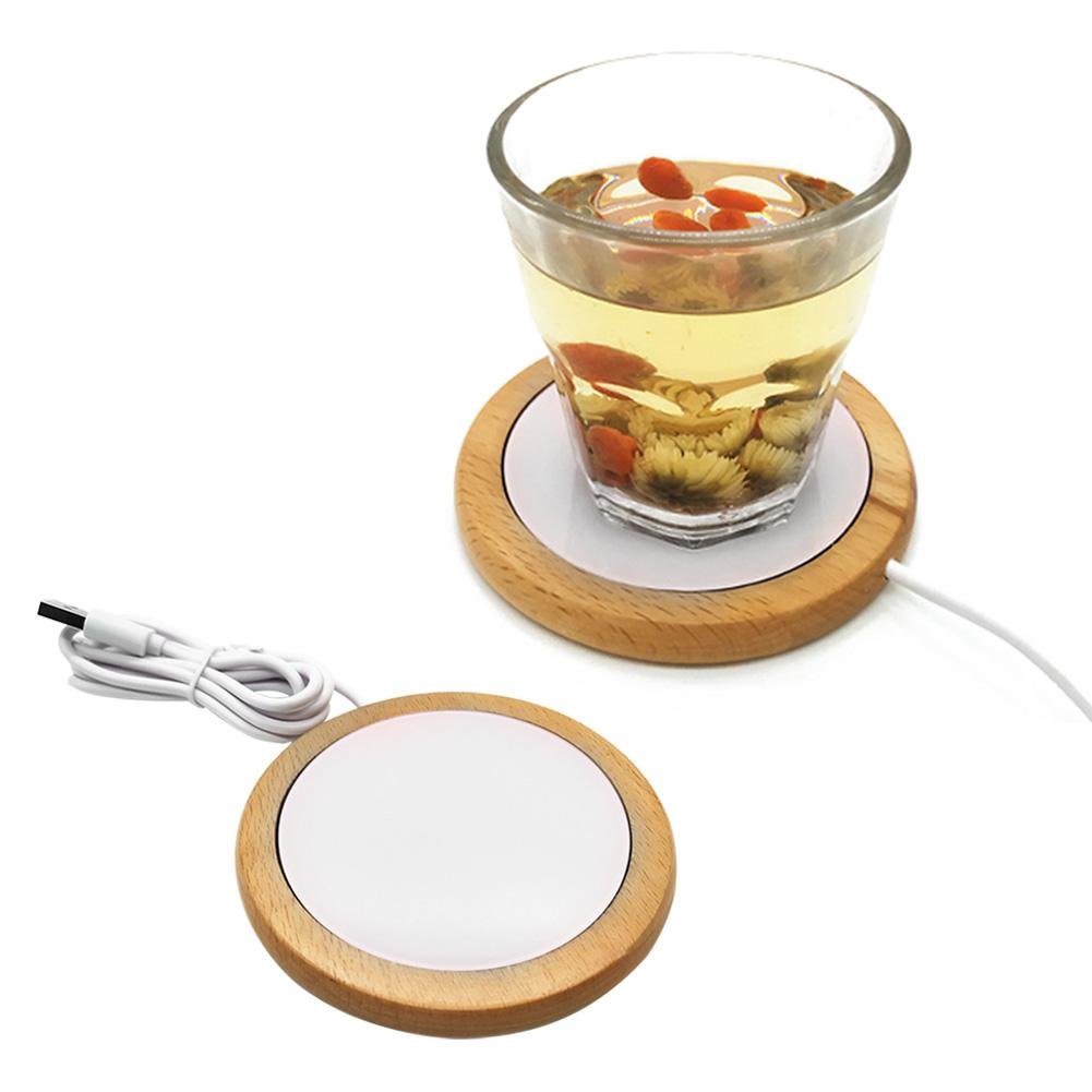 USB 55 Degree Cup Insulation Solid Wood Mat Glass Cup Heating Coaster USB Warmer For Milk Coffee Drinks