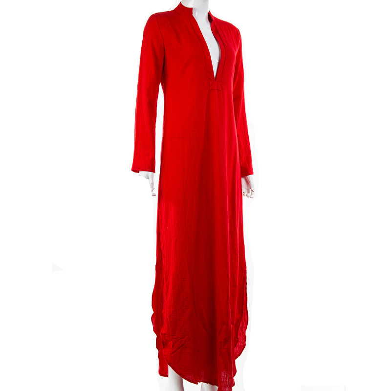 Women Gypsy Dresses Robe Long Sleeve V-neck Ethnic Boho Cotton Linen Summer Beach Maxi Dress 11