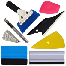 7 Pcs Vehicle Glass Protective Film Car Window Wrapping Tint Vinyl Installing Tool Squeegees Scrapers Film Cutters