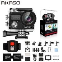 AKASO-Cámara de acción Brave 4 Ultra HD, 4K, WiFi, 2,0 pulgadas, 170D, 20MP, casco, impermeable, cámara deportiva, palo de selfi, regalo