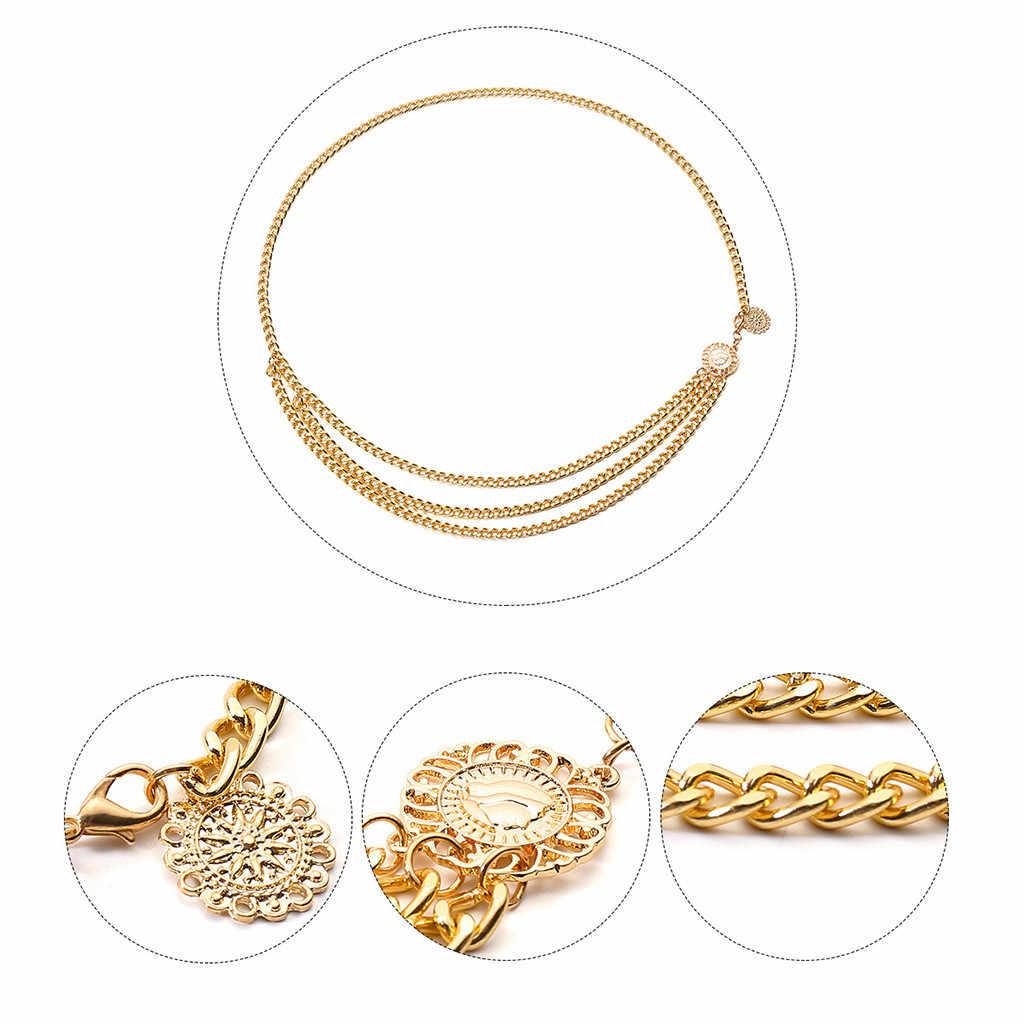 ゴールド女性クラシックヴィンテージデザイナーブランドパンクフリンジシルバーウエストベルト女性金属ドレス женский ремень