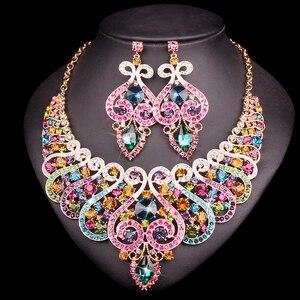 Image 2 - 웨딩 크리스탈 반지 팔찌 목걸이 귀걸이 세트에 대 한 설정 럭셔리 신부 보석 인도 파티 의상 액세서리 여성을위한 선물
